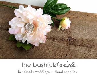 Silk flower blush, Peony bouquet, blush pink, blush pink peony, rhinestone, wedding bouquet, bridal bouquet, brooch bouquet, broach bouquet
