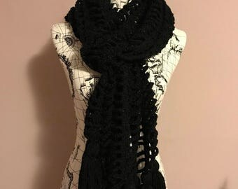 Crochet black scarf, metallic scarf, long scarf, tassels