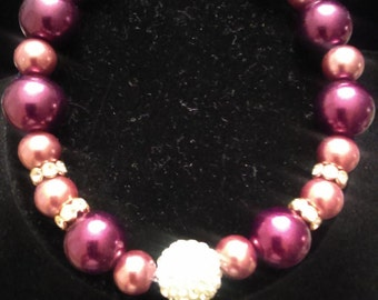 Faux Pearl and Crystal Beaded Bracelet