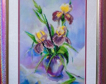 """Beadwork handmade """"Irises"""""""