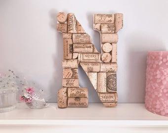 hand carved 9 wine cork letter carved from large wine corks wedding gifts wall collages desk decor valentines bookshelf decor