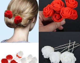 6 pc Red Or White Rose Flower Wedding Bridesmaid Hair Pins Grips Clips UK Stock