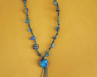 Blue and orange glass necklace