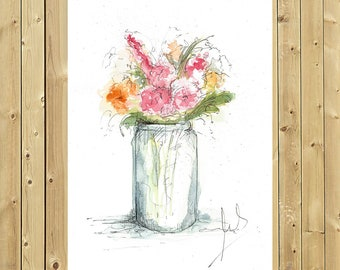 Flower - vase ORIGINAL painting in watercolor, unique, handmade vase