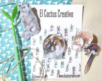 Chow chow dog, Persian Cat, set 2 squirrels brooch/pin, original artwork, miniature, hand-made