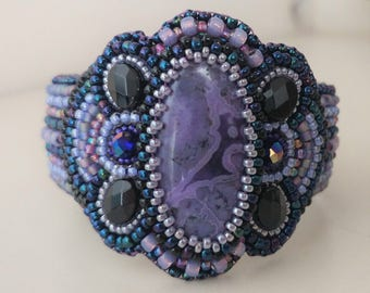 Purple and Black Bead Embroidered Cuff Bracelet