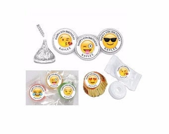108 Personalized Emoji Birthday Hershey Kiss Labels, stickers, favors, Tags, Any Variety, Any Emoji (Changes OK) FREE SHIPPING