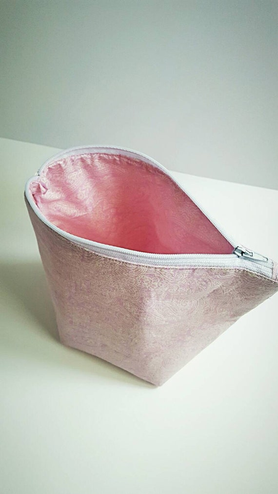 Pink Paisley Makeup bag - Gift for Her - Valentine's Day - Standing Makeup Bag - Zipper Pouch - Large Makeup Bag