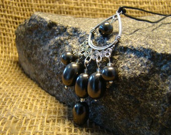 Shungite pendant with beads oval from Karelia.