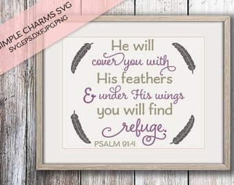 He will Cover You with His Feathers cut file for Silhouette & Cricut type cutting machines