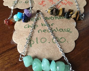 Gemstone chip bar necklace