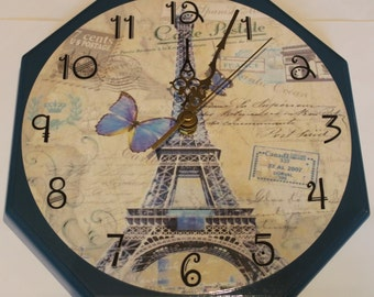 Paris Themed Decoupage Wall Clock