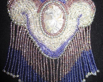 Beautiful hand-sewn bead-embroidered cabachon necklace