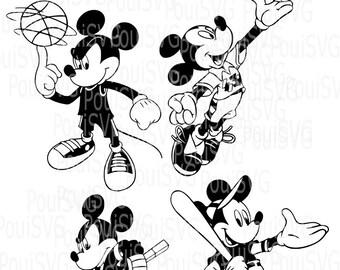 Mickey Mouse Svg, Sports svg, Silhouette Cameo cutting file cut vinyl shirt design Disney svg,Baseball,Hockey,Basketball svg