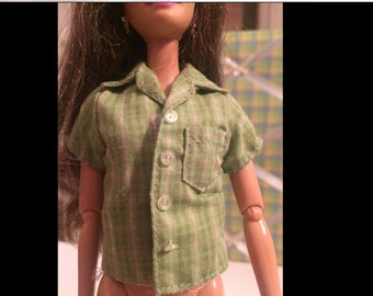 Vtg Barbie Ken Green Plaid Shirt