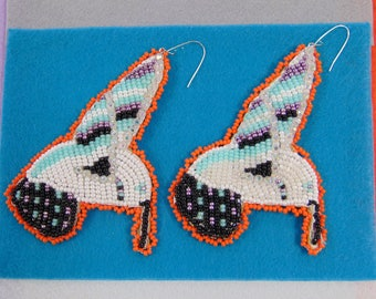 Native Lakota PowWow Beaded Hummingbird Earrings Patches