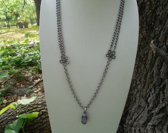 Antiqued Silver Boho Chic Necklace with Agate Drop