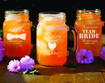 15 Custom Mason Jars - Personalized Rustic Glassware - Bridesmaid - Bridal Shower - Wedding Party Gift - Engraved Glassware - Groomsman Gift