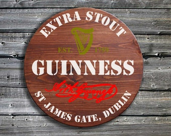 Traditional Guinness Barrel End Style Wooden Pub Sign Hand Made in Ireland