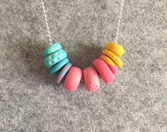 Handmade Necklace, Polymer Clay Necklace, Wooden Bead Necklace, Necklace, India Necklace, Teal Necklace, Pink Necklace, Mustard Necklace