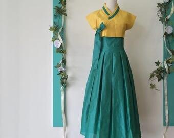 Fusion Hanbok Dress / Maxi Dress / Party Dress / Prom Dress / Dinner Dress / Green, Yellow / Premium Clothing / Raw Silk / Custom Made