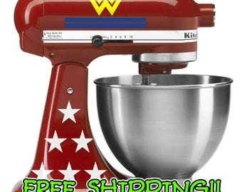 Wonder Woman KitchenAid stand mixer decal set.  Deluxe edition with 2 logos, 12 stars and 4 stripes!