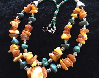 Baltic Amber and turquoise large necklace