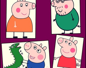Peppa Pig SVG- Pig Layered SVG- Peppa Pig Designs for Cricut and Silhouette