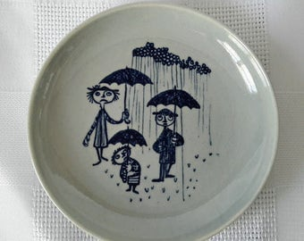 Bjorn Wiinblad Nymolle Denmark Miniature Plate, c.1960.