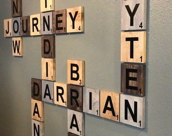 Scrabble name wall art! Beautifully display family names and/or motivational words. Wedding fit, anniversary gift or even birthdays.