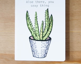 Succulent Pun Greeting Card, Funny, Potted Plant, Green, Pattern, Decorative, Cute, Fun, Plant, Fineliners, Drawing