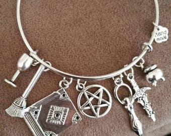 Wiccan Alter Bangle Bracelet/ Athame/ Cauldron/ Goddess/ Pentagram/ Book of Shadows/ Broom/ Goblet/ Modern Day Witch/ Mobile Alter