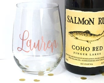 Personalized Wine Glass - Custom Rose Gold Stemless Glass - Custom Name - Bridesmaid Gift - Hostess Gift - Housewarming
