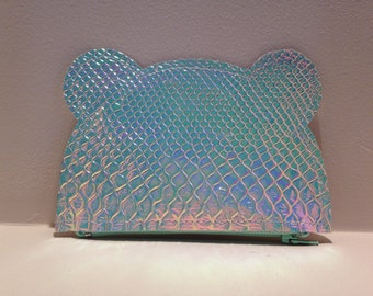 Holographic bear shaped coin purse