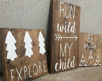 Woodland, Be Brave, Run Wild My Child, Explore, Nursery Decor, Baby Shower/ gifts. Woodland Nursery, Woodland Theme, Woodland Baby Shower