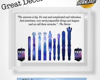 Doctor Who Geeky Digital Art Quote! Great Decor for any room!