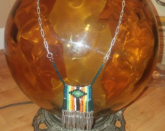 Hand made beaded and chain necklace.