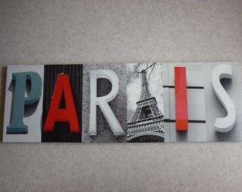 Painting Canvas Print letters PARIS and Tour Eiffel picture