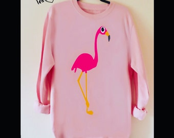 Flamingo Sweatshirt,S-XXL Ladies Sweatshirt, Sweatshirt, Flamingo Gift, Slouchy Sweatshirt, Wide Neck Sweatshirt, Ladies Hoodie