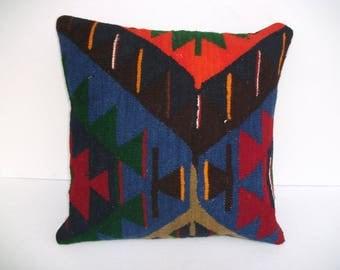 Kelim Pillow Case-Turkish Kilim Pillow- Cover Design - Kelim Kissen- Primitive Pillow -Vintage Design -Decorative Sofa -Cushion a-52