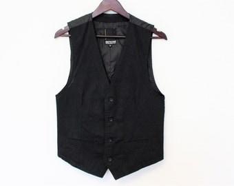 Gentlemens Vest Black Gray Waistcoat Cotton Casual Country Vest  Steampunk vest Brand SMOG Size Small to Medium