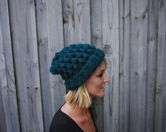 chunky slouchy hat, slouchy hat, slouchy beanie, crochet hat, crochet beanie, winter hat, unique gift, blue green, womens hat, crochet
