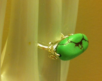 Green Semiprecious Stone Wire Wrapped Ring Size 8