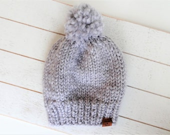 Knit Pom Toque, Grey, Ready to Ship Size Toddler