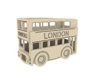 London bus, Pencil House Laser Cut. Home Décor - cnc laser cutting file / Vector model for laser cut