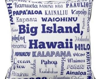 Big Island Hawaii cities pillow - HI typography throw pillow - white/black/blue decorative pillow - Hawaii cushion - gift