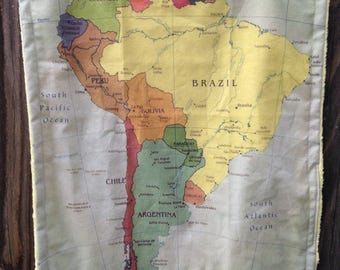 SOUTH AMERICA map blanket - baby minky security blankie - small travel blanky, lovie, lovey, woobie - 13 by 16 inches