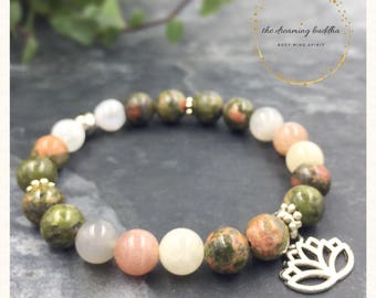 Fertility Bracelet Pregnancy Bracelet Childbirth Yoga Bracelet Unakite Moonstone Jewelry Healing Fertility Gemstone Bracelet Jewellery Gift