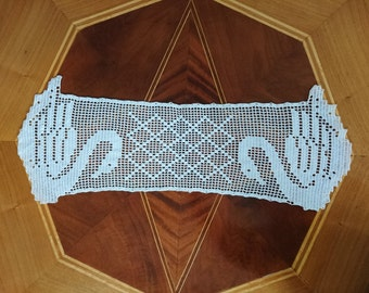 White Swan Bishop, filet crochet, tablecloth, table runner, swans