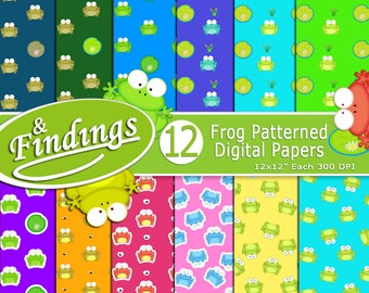 Frogs Galore! Instant Download, Ready to Print Digital Paper, Frogs and Lily Pads, Pond, Frogs in Pond, Frog Colors, Frog Pattern